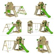 FATMOOSE-Cabane-HappyHome-Hot-XXL-Maison-denfants-pour-jardin-Aire-de-jeux-avec-balanoire-toboggan-vert-clair-surf-extension-bac--sable-Accessoires-0-0
