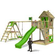 FATMOOSE-Cabane-HappyHome-Hot-XXL-Maison-denfants-pour-jardin-Aire-de-jeux-avec-balanoire-toboggan-vert-clair-surf-extension-bac--sable-Accessoires-0