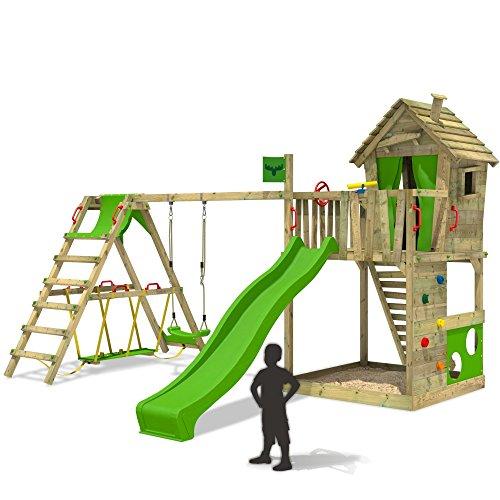 FATMOOSE-Cabane-HappyHome-Hot-XXL-Maison-denfants-pour-jardin-Aire-de-jeux-avec-balanoire-toboggan-vert-clair-surf-extension-bac–sable-Accessoires-0