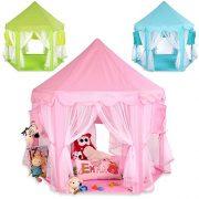 KIDUKU-Tente-de-jeu-pour-enfants-Chteau-de-Princesse-Tente-de-jeu-Maison-de-Jouet-Chteau-de-Princesse-de-fes-3-couleurs-au-choix-Rose-0