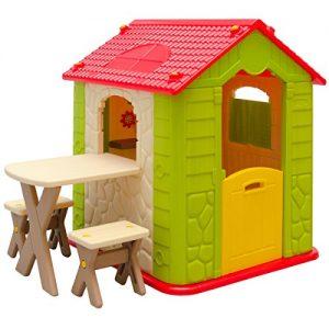 Maison-de-Jeu-en-Plastique-Maison-de-Jardin-pour-Enfants-Maisonnette-1-Table-2-Tabouret-pour-intrieur-et-extrieur-0