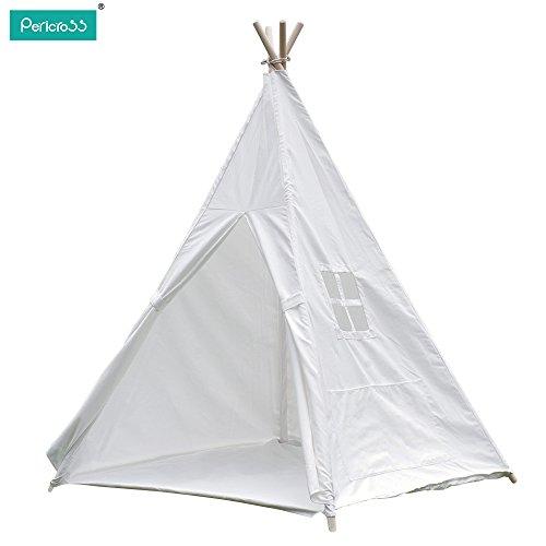 Pericross-100Coton-Tente-Indienne-de-Jouet-pour-Enfants-avec-Tapis-et-Fentre-Dimensions120-120-145cm-blanc-0