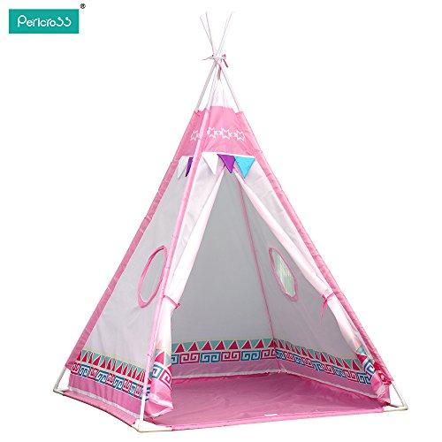 Pericross-Teepee-Tentes-Indienne-de-Jouet-pour-Enfants-Avec-Deux-Fenetres-Rose-0