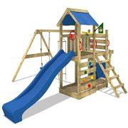 WICKEY-Aire-de-jeux-SeaFlyer-Portique-de-jeux-en-bois-Maison-pour-jardin-avec-balanoire-toboggan-bleu-mur-descalade-chelle-de-cordes-bac--sable-Accessoires-0-0