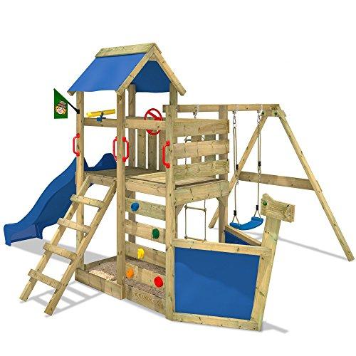 WICKEY-Aire-de-jeux-SeaFlyer-Portique-de-jeux-en-bois-Maison-pour-jardin-avec-balanoire-toboggan-bleu-mur-descalade-chelle-de-cordes-bac–sable-Accessoires-0