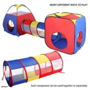 Tente-Tunnel-Enfant-Eocusun-Pliant-Tente-Maison-Aire-de-Jeux-Pop-up-Exterieur-avec-Tente-Boule-Pit-et-Panier-Sac-de-Rangement--Glissire-4en-1-multicolore-0-0