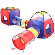 Tente-Tunnel-Enfant-Eocusun-Pliant-Tente-Maison-Aire-de-Jeux-Pop-up-Exterieur-avec-Tente-Boule-Pit-et-Panier-Sac-de-Rangement--Glissire-4en-1-multicolore-0