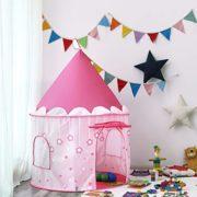 SONGMICS-Tente-de-Jeu-Chateau-de-Princesse-pour-Fille-Maison-de-Jeu-Intrieure-et-Extrieur-Portatif-avec-toiles-Brillantes-Cadeau-pour-Enfants-Rose-LPT01PK-0-0