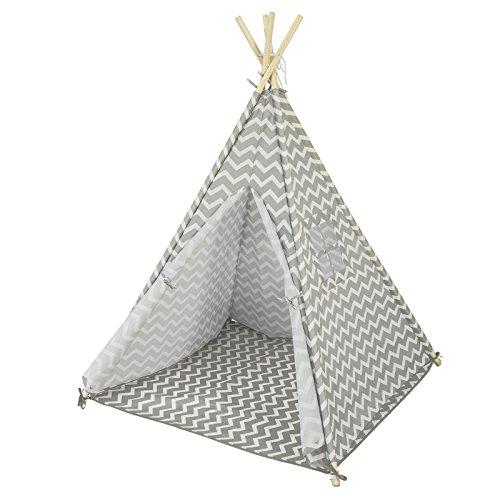 SoBuy-OSS03-Tipi-Enfant-Tente-pour-Enfant-avec-Tapis-De-Sol-Indian-Teepee-Tente-de-Jeu-pour-Enfants-0