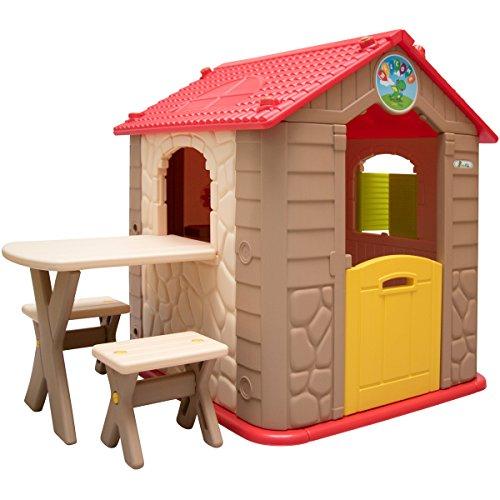 LittleTom-Maison-de-Jeu-de-Jardin-en-Plastique-Maisonnette-pour-Enfants-INCL-1-Table-2-bancs-Marron-Beige-0