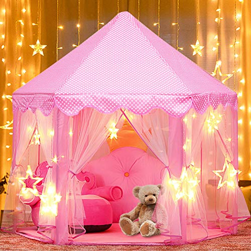 Tente-de-Jeu-Enfant-joylink-Tente-Princesse-Chteau-de-Intrieur-Extrieur-Tente-Enfants-de-Jeu-Jouet-Fille-Pliable-de-Tente-avec-LED-Star-Light-Rose-0